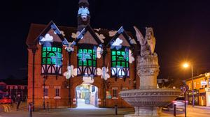 Bray Town Hall is lit up in green