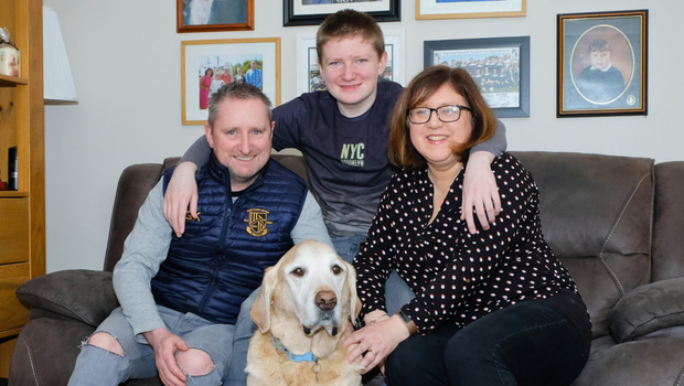 Gary, Cian and Ann-Marie Kelly with Edwen