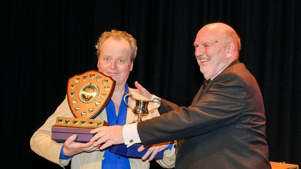Together with festival director William Mansfield, Noel Connolly of Square One Theatre Group juggles the Runner-up Group and Best Director Awards, having already collected the Best Comedy and the Adjudicator's Awards