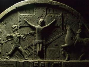 Detail of a Denis Cullen 18th century headstone from Preban graveyard