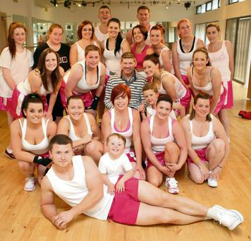 Jim Rock with White Collar Boxers from Bray and Greystones who will be taking part in a womens only fight night in of Breast Cancer and their Ring Boys at Greystones Studios.