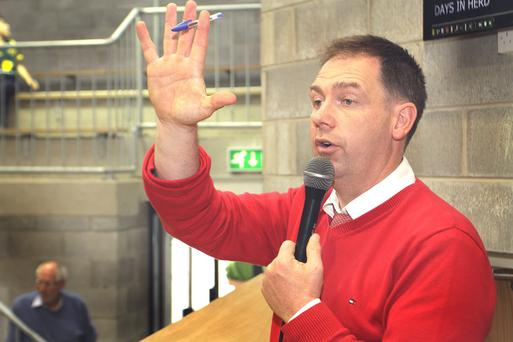 Pictured at Carnew mart, auctioneer David Quinn.