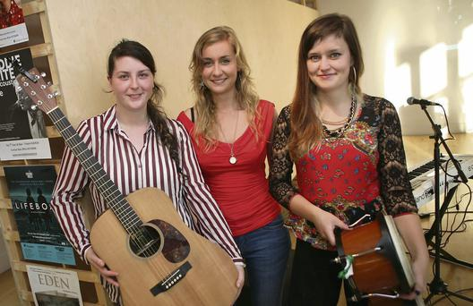 Members of 'Wyvern Lingo' Saoirse Duane, Karen Cowley and Caoimhe Barry who played at the launch of the new season's programmme at the Mermaid Arts Centre.