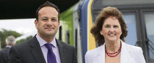 Joan Burton, T.D., Minister for Social Protection and Leo Varadkar, T.D., Minister for Transport, Tourism and Sport at the opening of the Hansfield Station in Dublin 15. Picture credit; Damien Eagers / Irish Independent