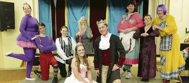 Cinderella (Fiona Hickey) and The Prince (James Scott) with (L-R) Mouse (Sarah Egan), Buttons (Ciaran Farrell), Dandini (Emilie Sheehy), Fairy Godmother (Karen Dutton), Frutti (Daithí Mac Aodhaghain), Stepmother Baronessa (Jackie Fisher), Tutti (Brian O'Sullivan)