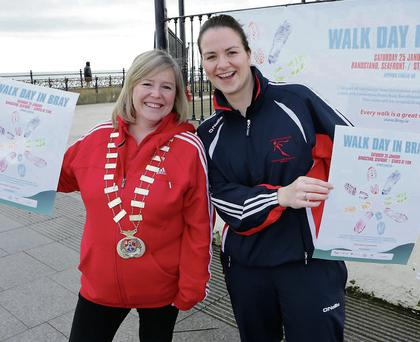 Cllr Tracy O'Brien Cathaoirleach Bray Town Council and Mary Doyle of the Sports Promotion Unit warming up for the Walk Day in Bray next Saturday, Januray 25, starting at 11am at the bandstand.