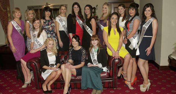 Some of the Roses with organiser Louise Fleming (seated centre) at the gathering of the Roses and their sponsors in Inis Fail, Baltinglass.