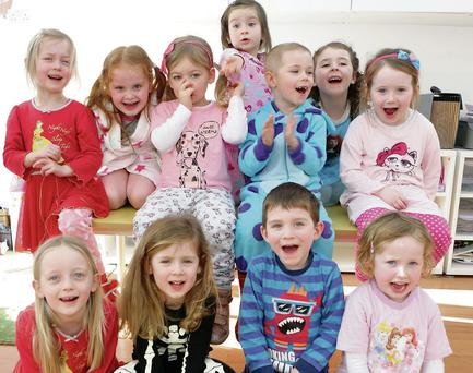 The children at Cuala Montessori, Bray getting cosy for Pyjama Day