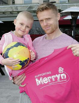 Merryn Lacy with Damien Duff who has signed up the play for Merryn Lacy at the Ex Wolfetone vs Ex Ardmore match on June 15 at 2pm.