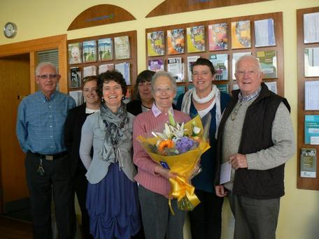 Mairead Scanlon was honoured for volunteering at Bray Citizens Information Centre for 42 years (back, from left): Pat O' Donnell, Paula Byrne, Mary Whitney and Ann Conan. Front: Martina Cronin (Development Manager), Mairead Scanlan and Eamonn Burgess (Chairperson).