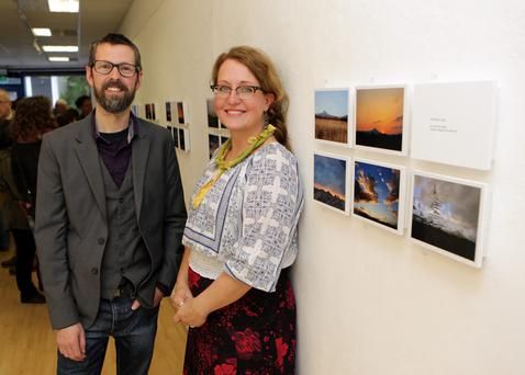 Artist Ciara Brehony with her husband Jay Roche at the opening of her photography exhibition 'A Year at My Back Door' at Signal Arts
