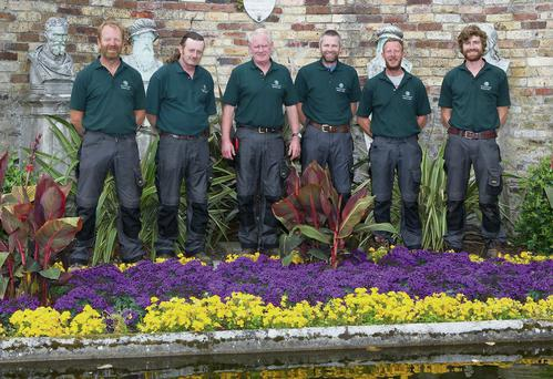 Fergus Dunne, Derek Whelan, Ken Griffiths, Dermot Leacy, Michael Byrne (Head Gardener), Alex Slazenger who keep The Powerscourt Gardens in pristine condition.