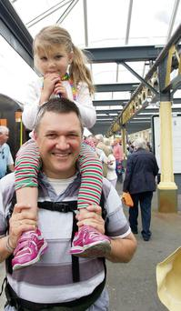 Eva and Mark Hughes at the Steam Engine visit to Bray Rail Station