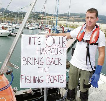Fisherman Ivan Toole who land his catch on the North Pier at the protest for the local Fisherman in Greystones Harbour