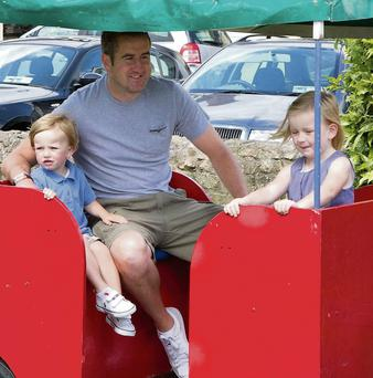 Holly, Jack and Graham Lawlor trying out the train