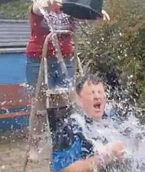 Colm Kavanagh of Kavanagh's Shop, Arklow, completes the Ice Bucket Challenge