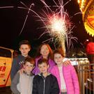Anne O'Brien with her grandchildren Paul Webb, Dylan Farrell, Jamie Webb and Chloe Webb at the fireworks display on Monday night
