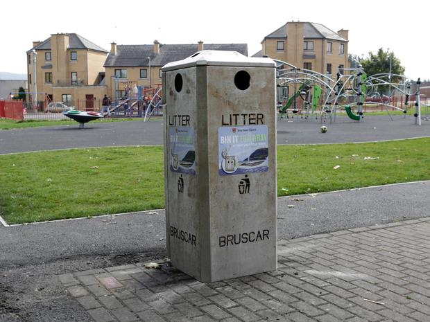 Replacement bin at the Ballywaltrim Playground