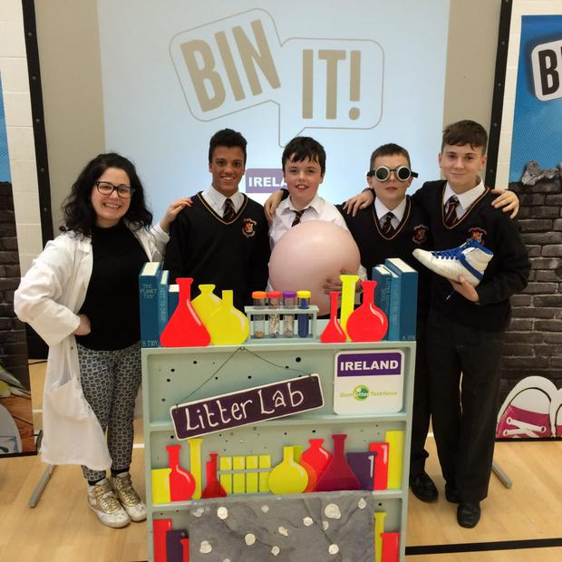 Students from Presentation College in Bray taking part in the Bin It! workshop