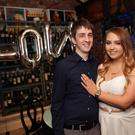 Alex Sherwin and Sarah Cullen at their engagement party at the Porterhouse