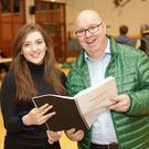 Isabella Vance (Princess Esmerelda Week 2) and Karl O'Leary (The Ogre) in rehearsals for Bray Musical Societies 'Puss in Boots' on the 27th-28th Nov and 4th-6th Dec at St Patrick's School
