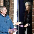 Cllr Joe Behan speaks with Kristin O'Donovan in Connolly Square