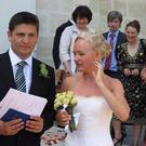 Suzanne and her late husband Ollie on their wedding day in 2007