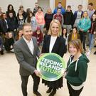 Eoghan Phelan, general manager of Visualise, Youthreach Bray Coordinator Louise Cole and Lauren Murphy with the students and staff of Intreo and Youthreach at the Seminart on pre-employment skills