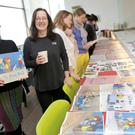 Amye Quigley, Greystones Librarian, with Marie-Louise Fitzpatrick at the children's book masterclass on Thursday