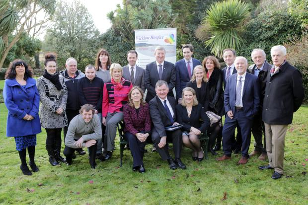 Deputies John Brady, Pat Casey and Simon Harris; Evanne Cahill, Head of Fundraising for Wicklow Hospice; Brendan Cuddihy, Chairman of Wicklow Hospice; and Sharon Foley, CEO of the Irish Hospice Foundation, with the Wicklow Hospice fundraising team at the announcement at Hunters Hotel on Wednesday