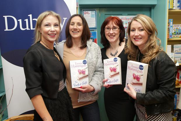 Emma Hannigan with Maria Duffy, Vanessa O'Loughlin and Andrea Hayes at Dubray Books