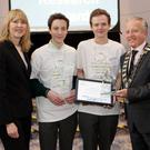LEO Wicklow Student Enterprise Awards: winners of Best Market Research Conor Alas and Sean Fagan (St David's, Greystones) from Eclipse Foods are presented with their award by Head of Enterprise Sheelagh Daly and Cllr John Ryan Cathaoirleach of Wicklow County Council
