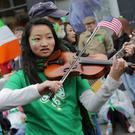 Ana Merchant from the Laramie High School Wyoming taking part in a previous St Patrick's Day parade