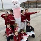 The Easter Bunny and Izzie Duggan, Luca Prendergast, Daragh Grogan, Max Duggan, John Walsh, Beau Duggan, Conor Walsh,Travis Duggan and Howie Hogan on the Easter Treasure Hunt for Ardmore Rovers, leaving the Martello from the 21-26 March