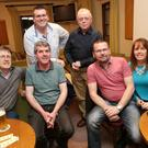 Back: Mark Reilly, John Hopkins. Front: Ed Byrne, Charlie COnnolly, Martin Carey, Annmarie Hayes at the Greystones Community First Responders 10th birthday table quiz at Greystones Golf Club