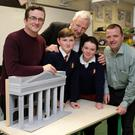 Peter Baxter, director of 'Freedom', a 1916 stop motion Lego movie, with Jack O'Keeffe and Eva Murray who read the proclamation, Principal John Connor and County Librarian Brendan Martin with a model of the GPO from the film