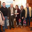 St Patrick's Day Awards Bray: Cathaoirleach Cllr Brendan Thornhill and Mick Glynn President of Bray Chamber present the Best Community Award to Kilmac Community First Responders (L-R) Ellen King, Mark Reilly, Cllr Brendan Thornhill, Annmarie Hayes, Sharon Carey, Ed Byrne, Mick Glynn