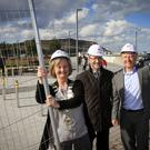 Cllr Grainne McLoughlin, Cathaoirleach of Greystones Municipal District, Bryan Doyle, Chief Executive at Wicklow County Council, and Cllr John Ryan, Cathaoirleach of Wicklow County Council, officially opening the new public square at Greystones Harbour last Thursday