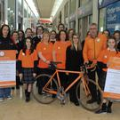 Students from St Mary's student council, Rachel Cooney of Arklow Rugby Club and Tracy Cullen from the Bridgewater Centre with Aoife Ryan, Carmel McBride and Joe Dixon from the local Cycle Against Suicide committee at the Cycle Against Suicide launch in Bridgewater Centre last Thursday