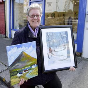 Mairead O'Reilly with her works 'The Mountain' and 'Snowdrift' which will be on show at the Purple House Exhibition at the Signal Arts Centre