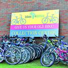 Some of the hundreds of bikes donated to Bray Rotary this time last year at the collection point at Open Door in Bray