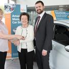 Maura Feeney from Bray Credit Union Ltd and John O'Brien from Fitzpatrick Motors presenting Phyllis Condren, winner of the Bray Credit Union March Car Draw, with the keys for a brand new Ford Fiesta Titanium