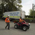 Members of the search team at the scene by the Blessington Lakes on Monday afternoon