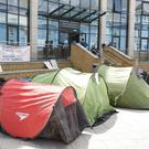 Tents pitched in the civic plaza in Bray on Tuesday