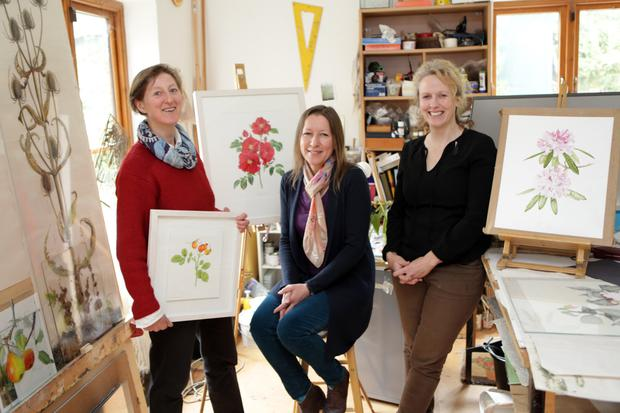 Yanny Petters, Holly Somerville and Lynn Stringer at Yanny's studios in Newtownmountkennedy