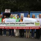 John McDonald, Jane Hilliard, Moria O'Hara, Bill Porter, Myles Doyle, Yvanne Cahill, Sinead Tormey and Noel Kearney at the presentation of cheques each for Rathdrum cancer society 2064.00 Euro and Wicklow Hospice foundation 2064.00 at Avoca recycling centre