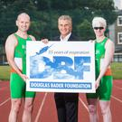 Irish paratriathletes Catherine Walsh and Aidan McGlynn with Paul McNeive, Ambassador for The Douglas Bader Foundation