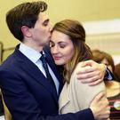 Simon Harris with Caoimhe Wade at the count centre in Greystones after he was re-elected to the Dáil in February