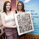 Ciara McMichael and Sinead Ryan with their newly-shorn locks and one of the montages made of photos of May Talbot