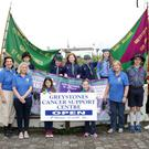The scouts with Kathleen Kelleher, Anne Bateman and Eileen Morris from Greystones Cancer Support Centre